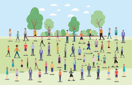 group of people walking and running on the park characters vector illustration design
