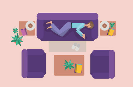 young woman relaxing on the livingroom vector illustration design