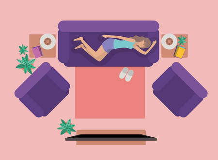 young woman watching tv on the livingroom vector illustration design