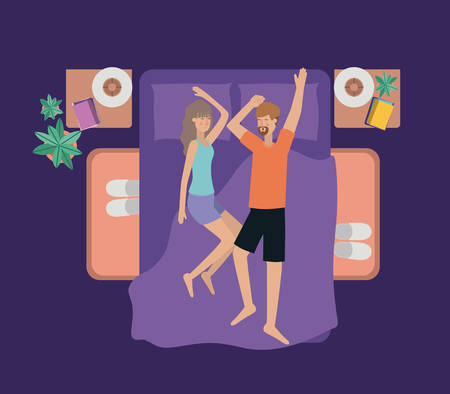 young couple relaxing on the bedroom vector illustration design