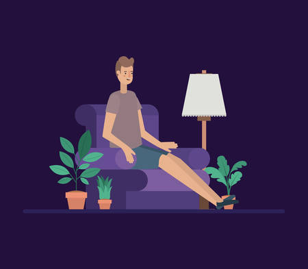 young man relaxing on the livingroom vector illustration design