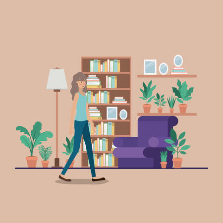 young woman on the livingroom vector illustration design