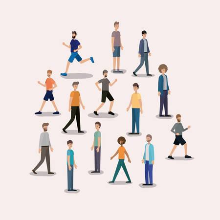group of men walking characters vector illustration design
