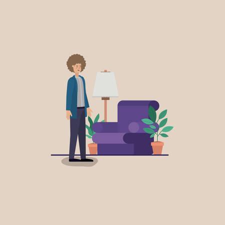 young man on the livingroom vector illustration design