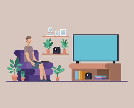 young man watching tv on the livingroom vector illustration design