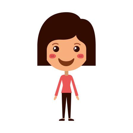 cartoon woman happy kawaii character vector illustration design Illusztráció