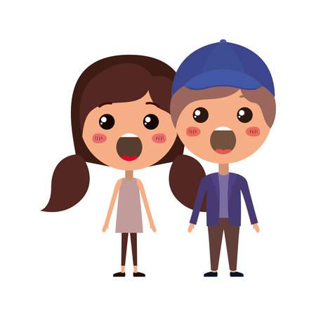 cartoon surprised couple kawaii characters vector illustration design
