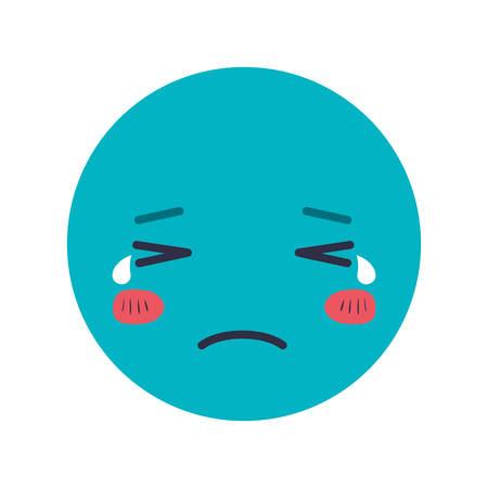 cartoon sad head kawaii character vector illustration design Illustration