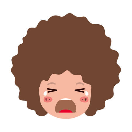cartoon man crying head kawaii character vector illustration design