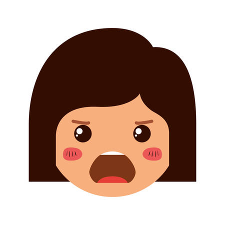 cartoon woman angry head kawaii character vector illustration design Illusztráció