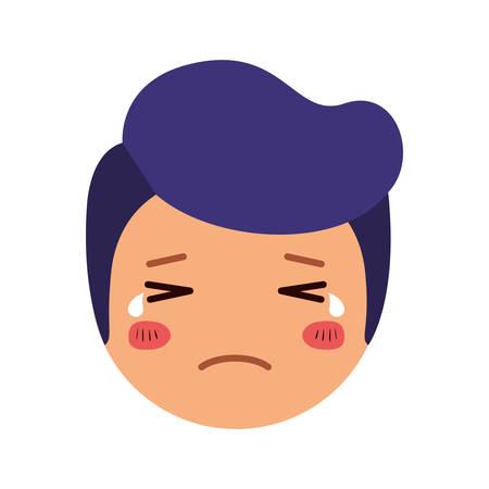cartoon sad man head kawaii character vector illustration design