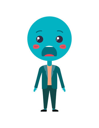 cartoon angry emoticon with body kawaii character vector illustration design Illustration