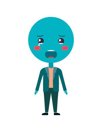 cartoon sad emoticon with body kawaii character vector illustration design
