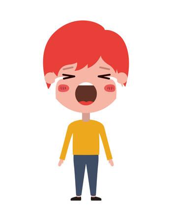 cartoon man crying kawaii character vector illustration design