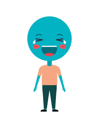 cartoon happy emoticon with body kawaii character vector illustration Illusztráció