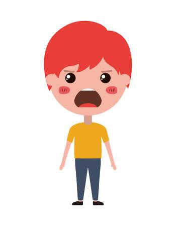 cartoon man angry kawaii character vector illustration design Stock Photo