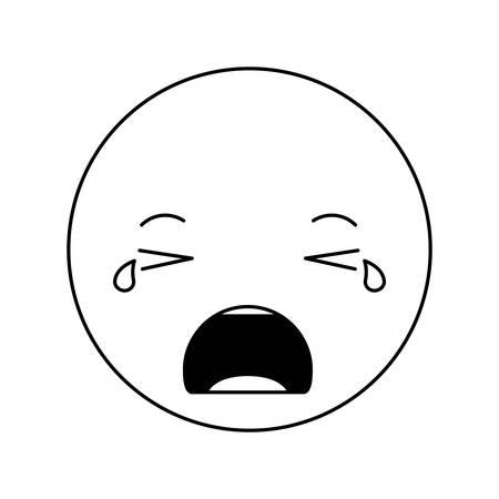 cartoon crying head kawaii character vector illustration design Illustration