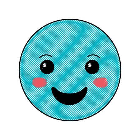 cartoon happy head kawaii character vector illustration design