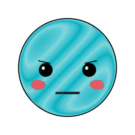 cartoon angry head kawaii character vector illustration design