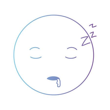 cartoon head asleep kawaii character vector illustration design