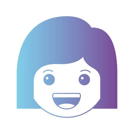 cartoon woman happy head kawaii character vector illustration design