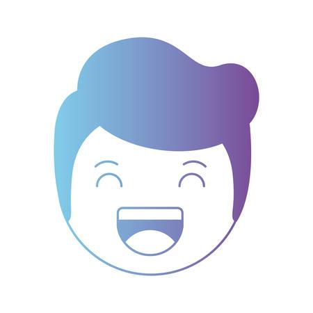 cartoon happy man head kawaii character vector illustration design