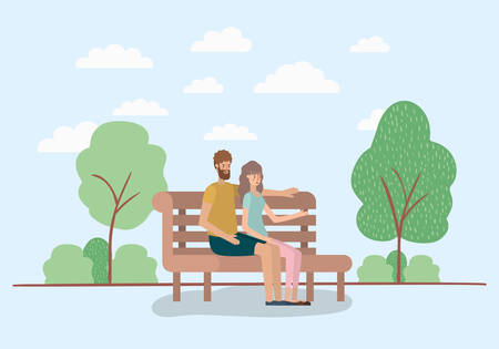 young couple lovers sitting on park chair vector illustration design