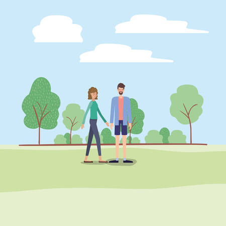 young couple walking on the park vector illustration design