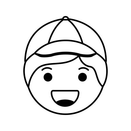 cartoon happy man head character vector illustration design Illusztráció