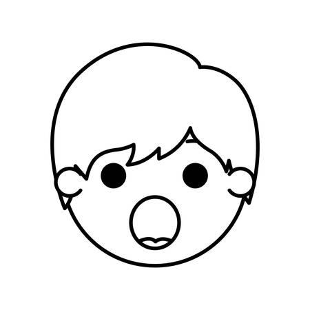 cartoon man head surprised kawaii character vector illustration design