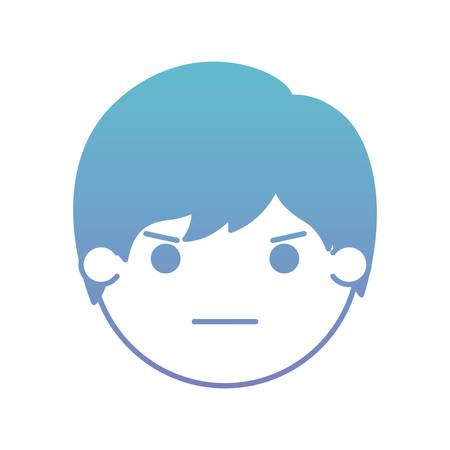 cartoon man angry head kawaii character vector illustration design Illusztráció