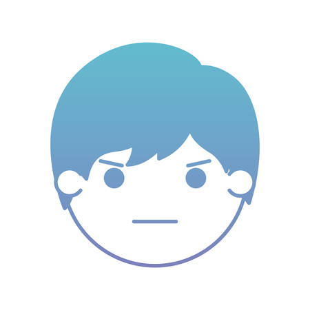 cartoon man angry head kawaii character vector illustration design Illustration