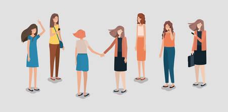 group of women using smartphone vector illustration design