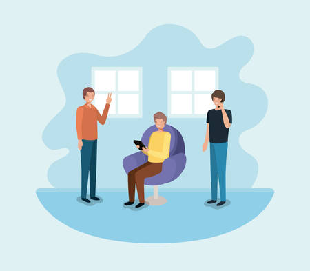 group of men using technology in the livingroom vector illustration