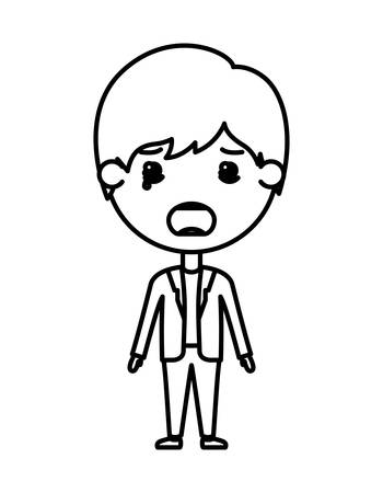 cartoon sad man kawaii character vector illustration design