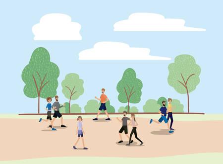 Grupo de personas caminando y corriendo en el parque, diseño de ilustraciones vectoriales personajes