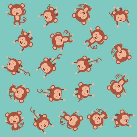cute monkeys pattern background vector illustration design