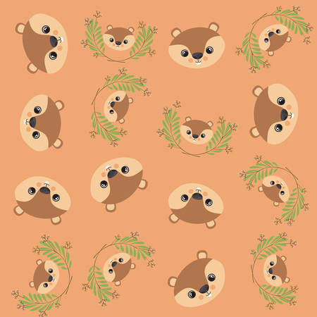 cute chipmunk and leafs pattern background vector illustration design Ilustración de vector