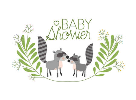 cute raccons couple with wreath baby shower card vector illustration 矢量图像