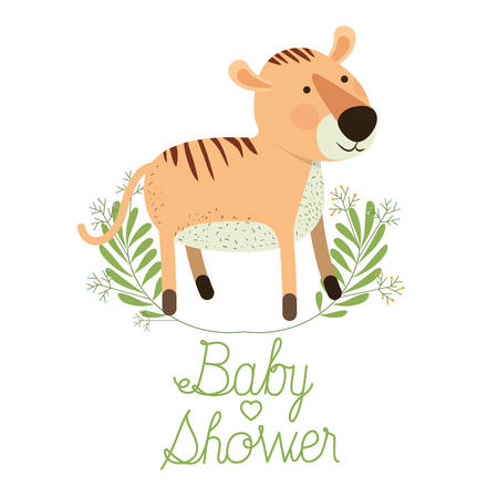cute tiger with wreath baby shower card vector illustration design