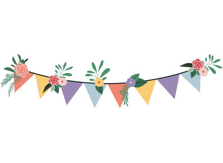 garland hanging with flowers decoration vector illustration design