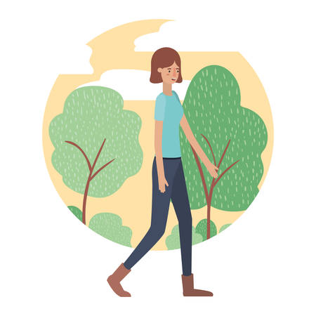 young woman with landscape avatar character vector illustration design