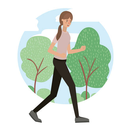 young woman with landscape avatar character vector illustration design Foto de archivo - 108931292