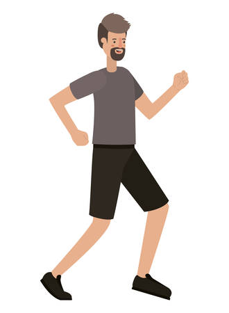 young man with beard running avatar character vector illustration design