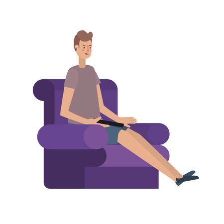 young man seated in the sofa avatar character vector illustration design