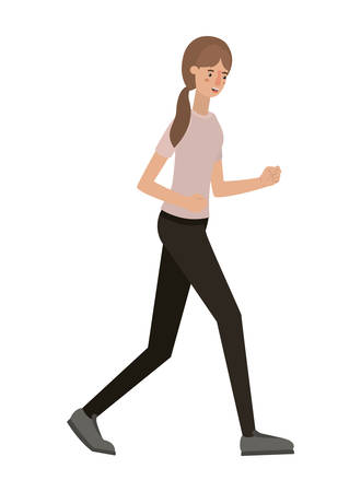 beautiful and young woman walking character vector illustration design Illustration