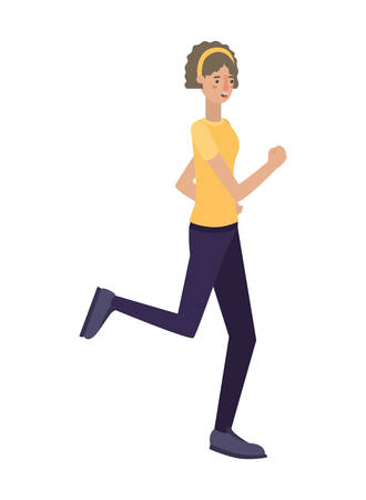 beautiful and young woman running character vector illustration design Illustration