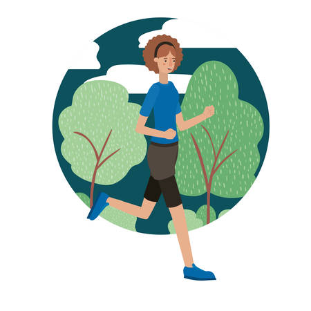 beautiful and young woman running on the park vector illustration Illustration