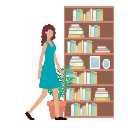 beautiful and young woman walking on the house vector illustration