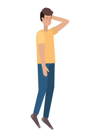 young man with sleeping pose avatar character vector illustration desing